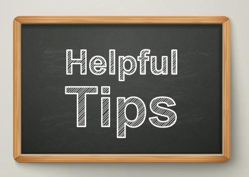 helpful tips on blackboard in wooden frame