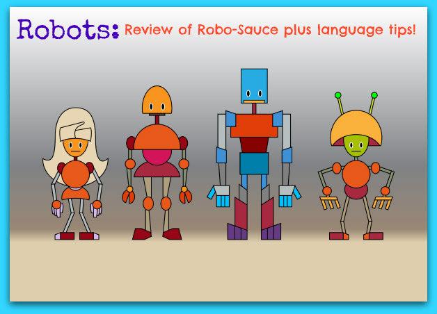 Vector illustration of funny cartoon robots family