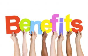 Multi Ethnic People Holding The Word Benefits